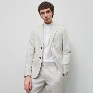 Reserved - Oblekové sako zo zmesi ľanu a bavlny - Béžová