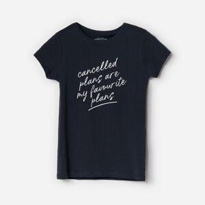 Reserved - Bavlnené tričko s nápisom - Čierna