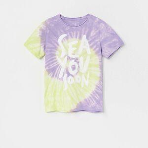 Reserved - Bavlnené tričko s batikovaným efektom - Biela