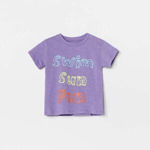 Reserved - Bavlnené tričko s nápisom - Purpurová
