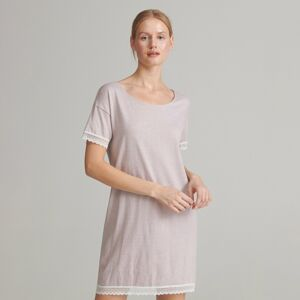 Reserved - Nočná košeľa s čipkovaným lemom - Hnědá