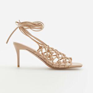 Reserved - Pletené sandále - Hnědá