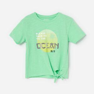 Reserved - Bavlnené tričko s 3D nápisom - Zelená