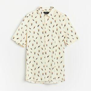 Reserved - Košeľa s krátkymi rukávmi regular fit - Krémová