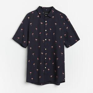 Reserved - Košeľa s krátkymi rukávmi regular fit - Tmavomodrá