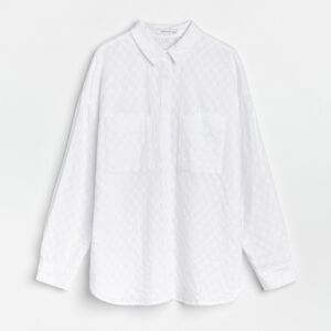 Reserved - Košeľa zo štruktúrovanej látky - Biela