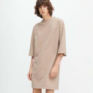 Reserved - Úpletové šaty so stojačikom - Béžová