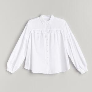 Reserved - Košeľa s pufovanými rukávmi - Biela