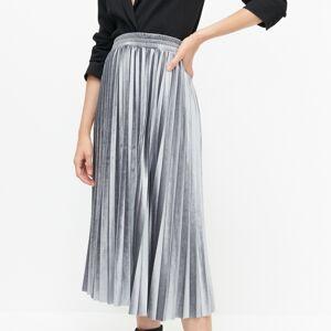 Reserved - Velúrová plisovaná sukňa - Svetlošedá