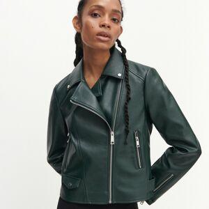 Reserved - Motorkárska bunda z umelej kože - Khaki
