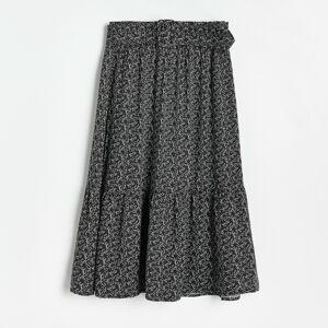 Reserved - Vzorovaná viskózová sukňa - Čierna