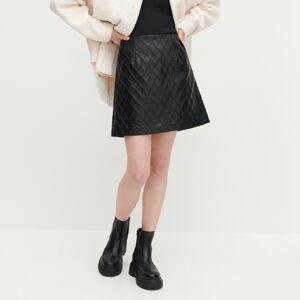 Reserved - Prešívaná sukňa z umelej kože - Čierna