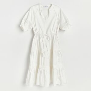 Reserved - Bavlnené šaty s volánmi - Biela