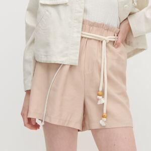 Reserved - Hladké šortky s opaskom - Béžová