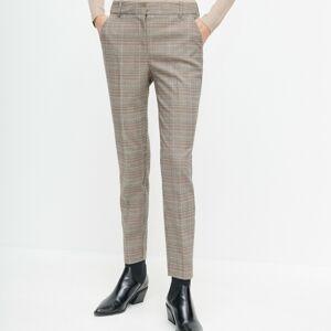 Reserved - Plisované nohavice cigaretového strihu - Hnědá