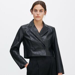 Reserved - Kostýmové sako z eko kože - Čierna