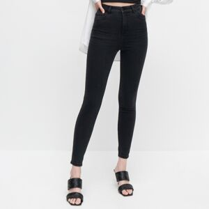 Reserved - Džínsy slim s vysokým pásom - Čierna