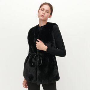 Reserved - Vesta z umelej kožušiny - Čierna