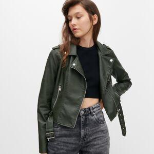 Reserved - Motorkárska bunda s opaskom - Khaki