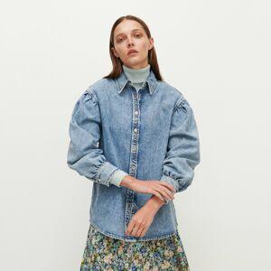 Reserved - Denimová košeľa s pufovanými rukávmi - Modrá