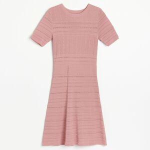 Reserved - Úpletové šaty s ozdobným vzorom - Ružová