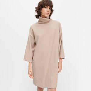 Reserved - Úpletové šaty s rolákom - Béžová