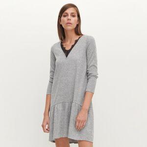 Reserved - Úpletové šaty s čipkovaným výstrihom - Svetlošedá