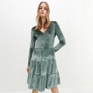 Reserved - Velúrové šaty - Zelená