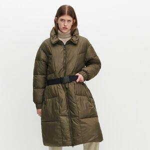 Reserved - Kabát so stojačikom a opaskom - Khaki