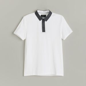 Reserved - Tričko polo slim fit s károvaným golierom - Biela