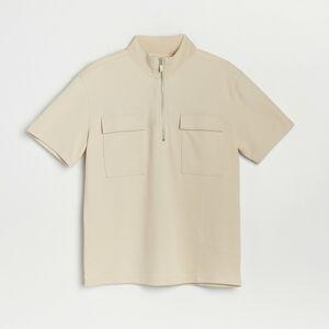Reserved - Hladké tričko polo so zipsom do polovice -