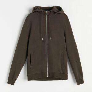 Reserved - Mikina na zips s kapucňou - Khaki
