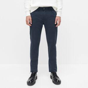 Reserved - Bavlnené nohavice slim fit - Tmavomodrá