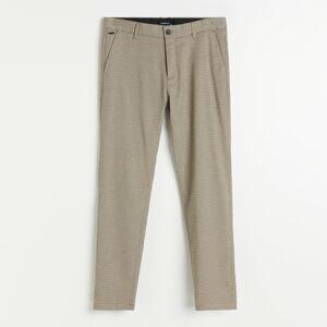 Reserved - Skrátené pepitové džínsy slim fit - Béžová