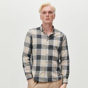 Reserved - Kockovaná košeľa slim fit - Béžová
