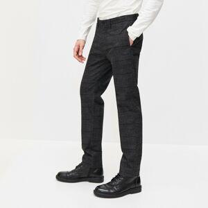 Reserved - Kárované skrátené chino nohavice slim fit - Šedá