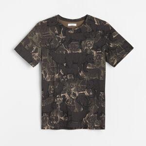 Reserved - Vzorované tričko z organickej bavlny - Hnědá