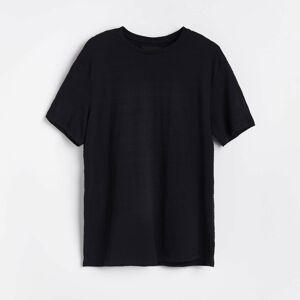 Reserved - Tričko zo štruktúrovaného úpletu - Čierna
