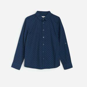 Reserved - Bavlnená bodkovaná košeľa - Tmavomodrá