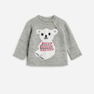 Reserved - Teplý sveter s motívom macíka - Svetlošedá