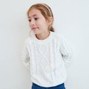 Reserved - Ženilkový sveter s vrkočovým vzorom - Krémová