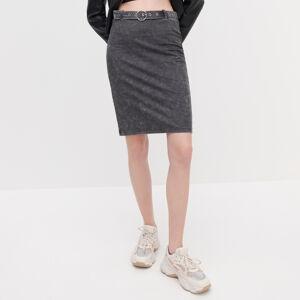 Reserved - Úpletová sukňa s opaskom - Šedá