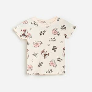Reserved - Vzorované bavlnené tričko - Béžová
