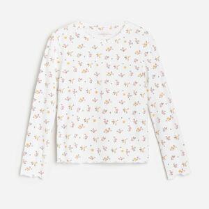 Reserved - Bavlnené tričko s kvetinovou potlačou - Krémová