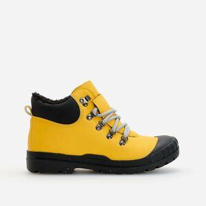 Reserved - Zateplené členkové topánky z umelej kože - Žltá