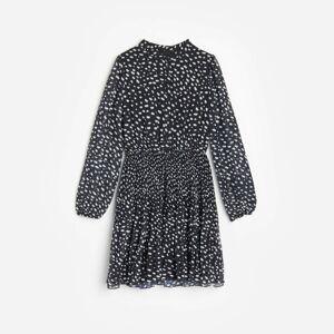 Reserved - Vzorované šaty so stojačikom - Čierna