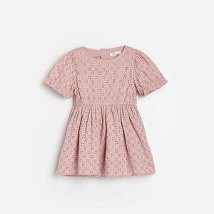 Reserved - Ažúrové šaty z organickej bavlny - Ružová