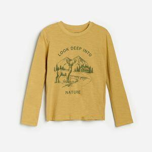 Reserved - Bavlnené tričko s dlhými rukávmi a potlačou - Béžová