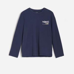 Reserved - Bavlnená košeľa s potlačou - Tmavomodrá