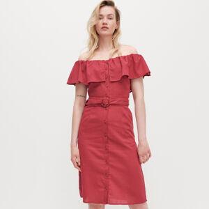 Reserved - Šaty s odhalenými ramenami - Ružová